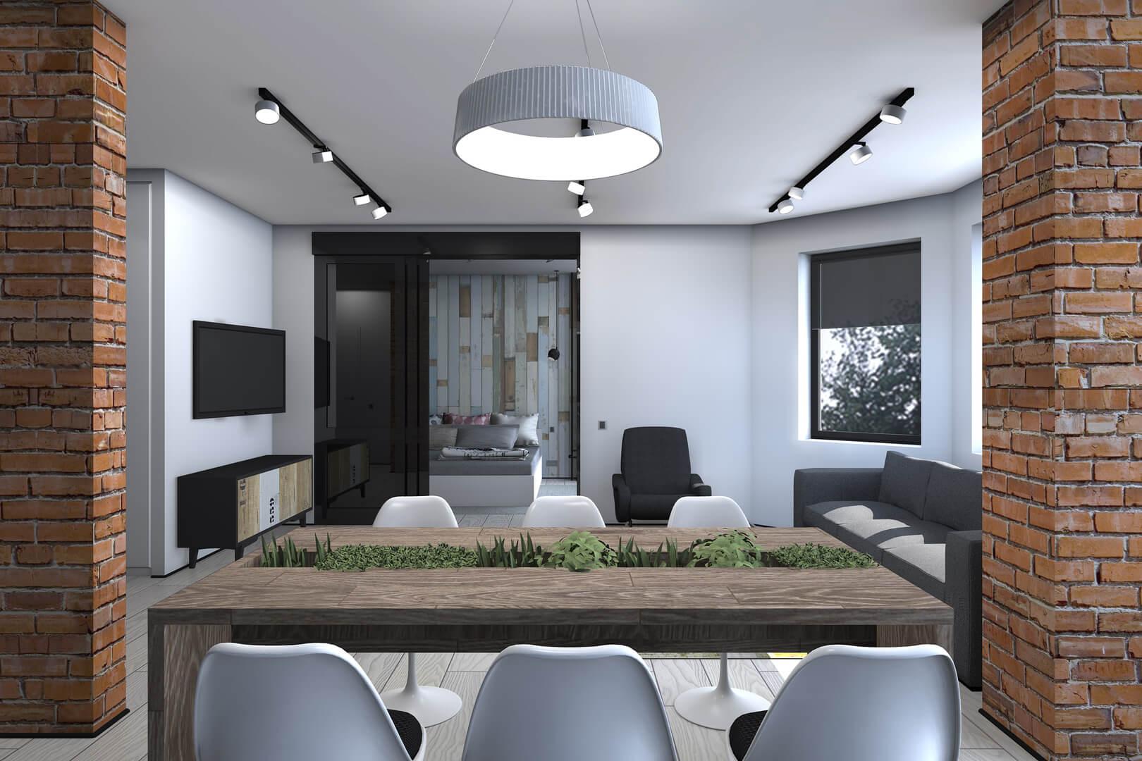 Натяжной потолок с трековыми светильниками